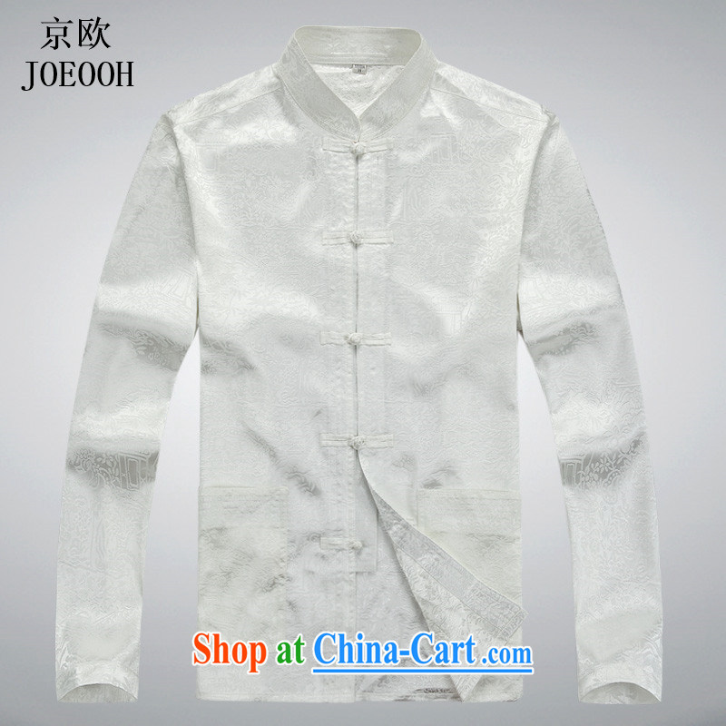 Putin's European Summer men's Tang is set long-sleeved older people in China's Ethnic clothing, for Chinese clothes T-shirt white package XXXL, Beijing (JOE OOH), shopping on the Internet