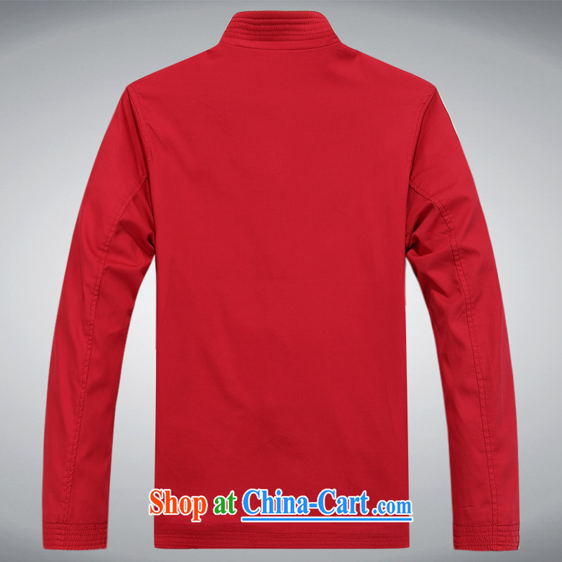 The chestnut mouse male Chinese middle-aged and older men's Chinese Chinese men's leisure spring loaded Dad national dress jacket red XXXL, the chestnut mouse (JINLISHU), online shopping