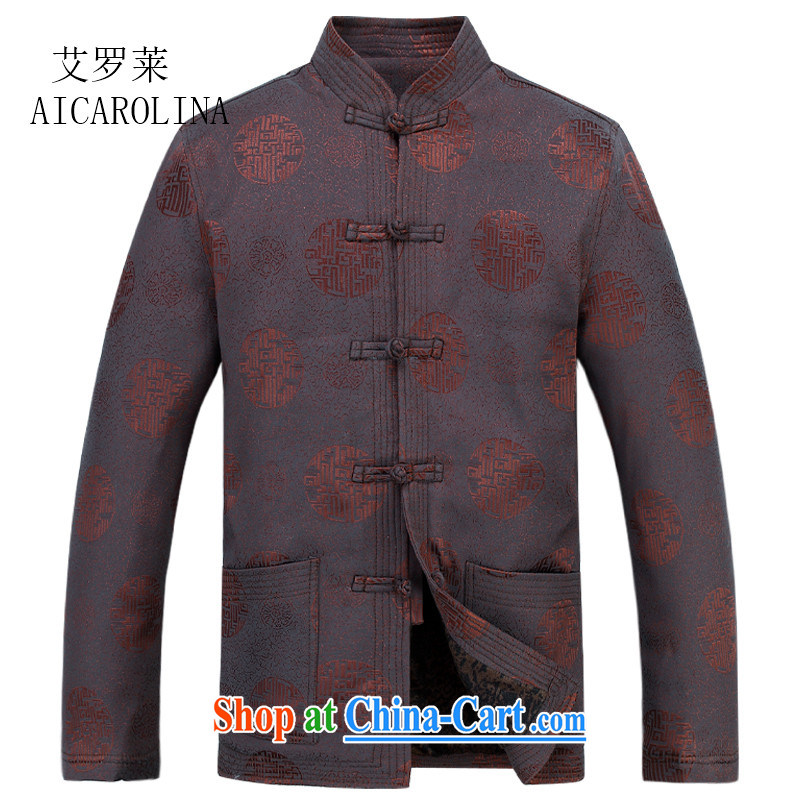 The thick black men Tang with quilted coat jacket older, for men's cotton suit Chinese lunar new year birthday gift brown XXXL