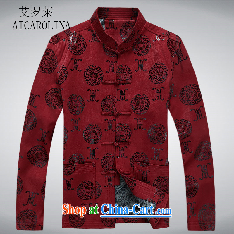 The Carolina boys National wind men Chinese men and Chinese wind-buckle spring long-sleeved T-shirt in Spring and Autumn and older men's jackets red XXXL