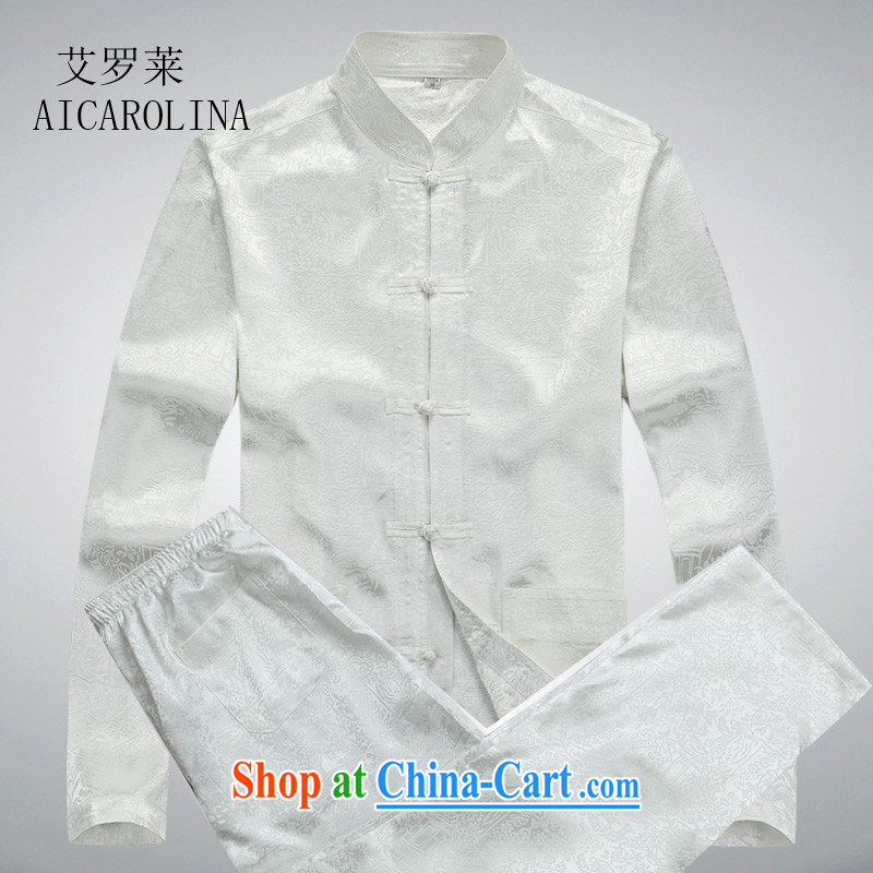 The Carolina boys men's middle-aged and older Chinese Spring and Autumn and long-sleeved clothing, middle-aged father China wind older persons Tang with Chinese men and white package XXXL