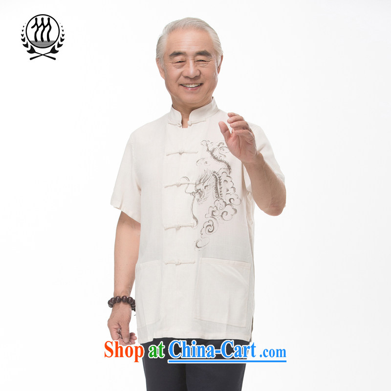 Summer are new, older linen men's Chinese Dragon Chinese short-sleeved Chinese older persons the Commission cotton short-sleeved T-shirt ethnic wind Chinese dragon short-sleeved T-shirt beige M_170