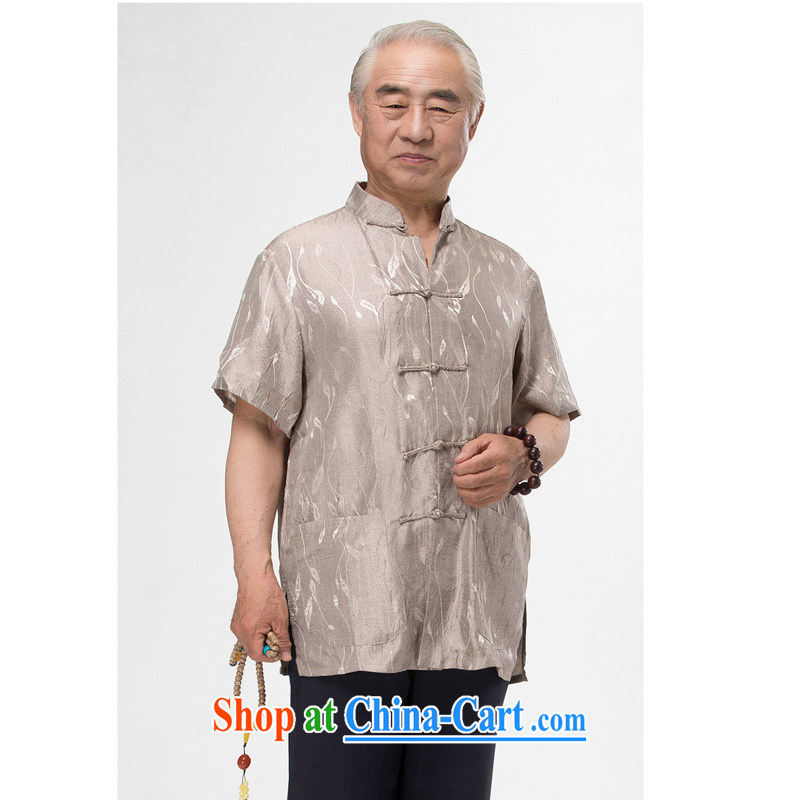 2015 New, Old cotton the Chinese men's T-shirt with short sleeves, served men and Tang with summer national costumes stamp father loaded the code gray XXXL_190