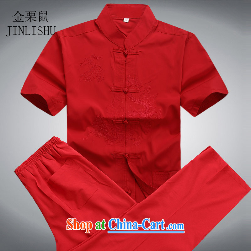Kim Jong-il chestnut Mouse middle-aged and older Chinese package short-sleeved older persons in men's father with summer T-shirt pants Red Kit L, the chestnut mouse (JINLISHU), shopping on the Internet