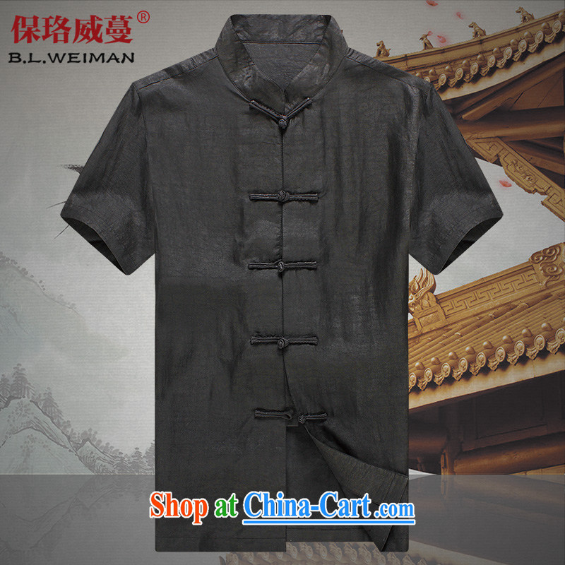 the Lhoba people, evergreens 100 % sauna silk fragrant cloud yarn solid-colored Chinese men's short-sleeved silk China wind summer male, older men and silk shirt black L