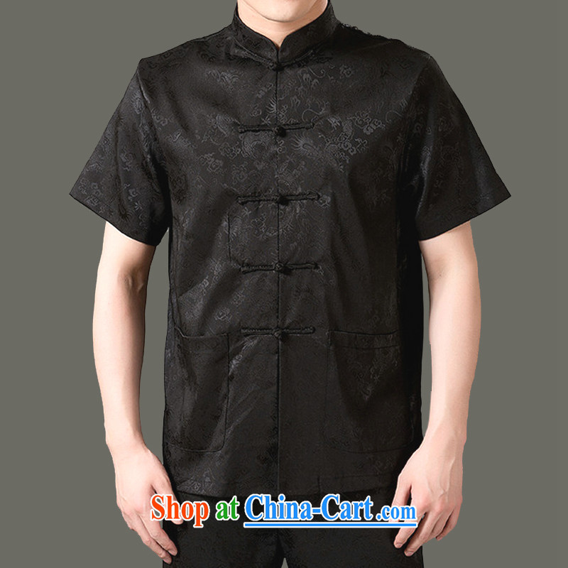 Rabies to package the old Adam, genuine male 14 summer New Men's short-sleeved Tang is happy, older boys have on life Summer Package SH 807 black 180 code package