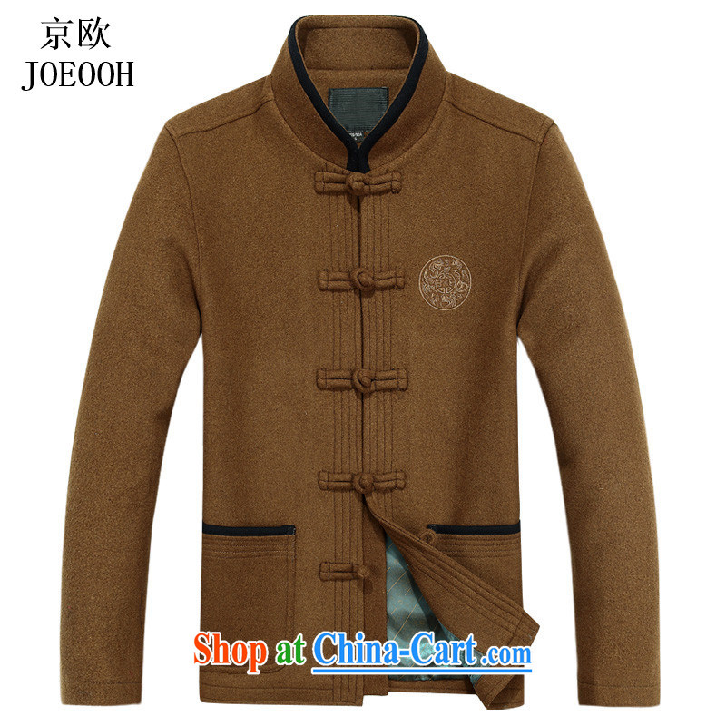 The Beijing national costumes China wind wool? The Chinese men's long-sleeved Spring and Autumn and the deductions for the elderly in jacket and yellow XXXL