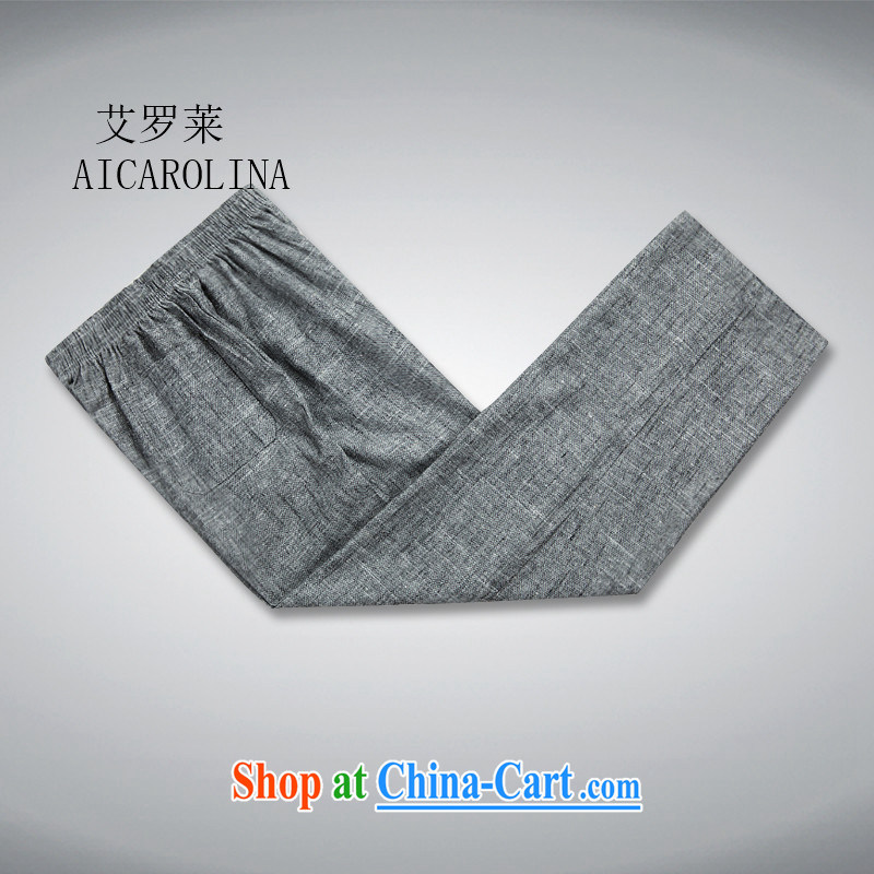 The Luo, middle-aged men with short set short-sleeve middle-aged and older Chinese cynosure serving his father with dark gray trousers XL