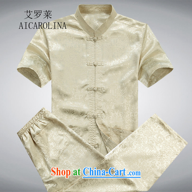 The Carolina boys, older men with short summer short-sleeved Tang loaded package of older persons leisure Chinese men father in gold package XXXL