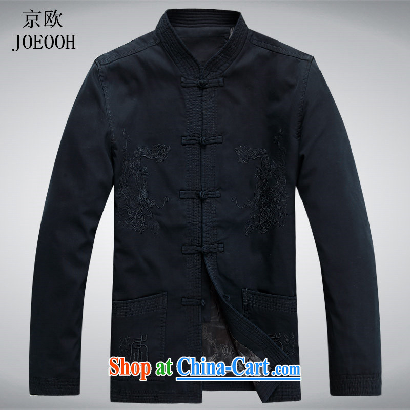 Putin's European men's long-sleeved Tang jackets men and Chinese T-shirt sand wash Cotton Men's spring jacket national uniforms Chinese jacket and dark blue XXXL