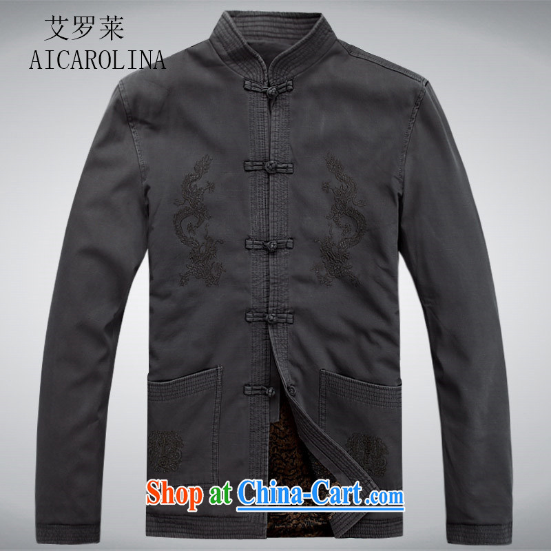 The middle-aged, male Chinese new leisure Chinese men's long-sleeved T-shirt jacket China wind dark gray XXXL