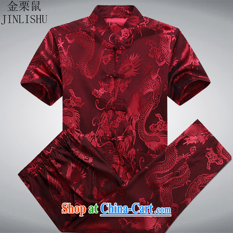 The chestnut mouse summer new middle-aged and older Chinese men and Chinese men's short sleeve with the Code Red Kit XXL