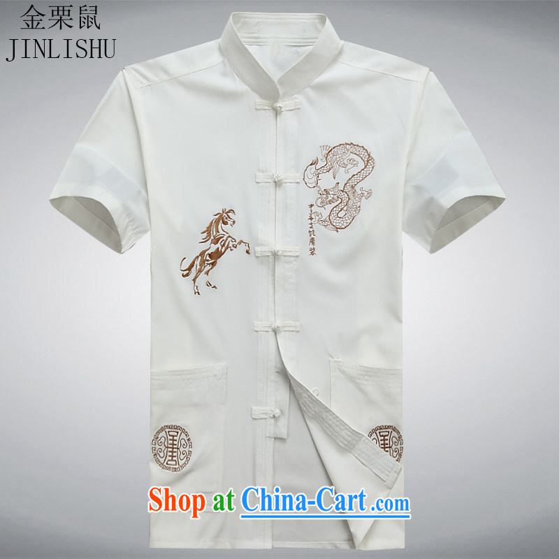 The chestnut Mouse middle-aged and older Chinese men and a short-sleeved shirt older persons older persons Grandpa Summer Load men's father is white XXXL
