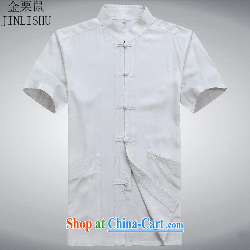 The chestnut mouse summer men Tang is a short-sleeved shirt, older men and casual summer wear white shirt XXXL