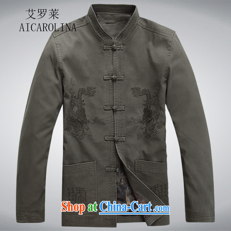 The Carolina boys, older men and the Spring and Autumn Period, the Chinese men's long-sleeved jacket Chinese, for ethnic Chinese wind gray-green XXXL