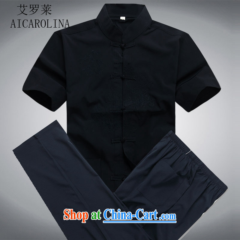 The Carolina boys 2015 Summer Package short-sleeve Chinese men and elderly people in China wind male male-tang with dark blue Kit XXXL