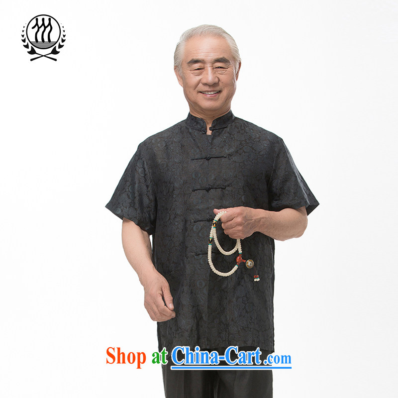 and mobile phone line short-sleeved short summer load new male fragrance cloud yarn and silk Tang replace short-sleeved shirt T-shirt, older men, Tang with the Shannon cloud yarn XXXL/190
