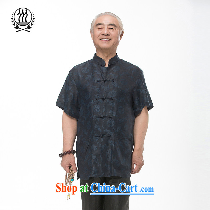 explosions, and Mobile Phone Line new summer standard silk short-sleeved T-shirt, old Summer Scent cloud yarn Tang replace short-sleeve men, for silk short-sleeved short T-shirt with the Shannon cloud yarn dark blue XXXL_190