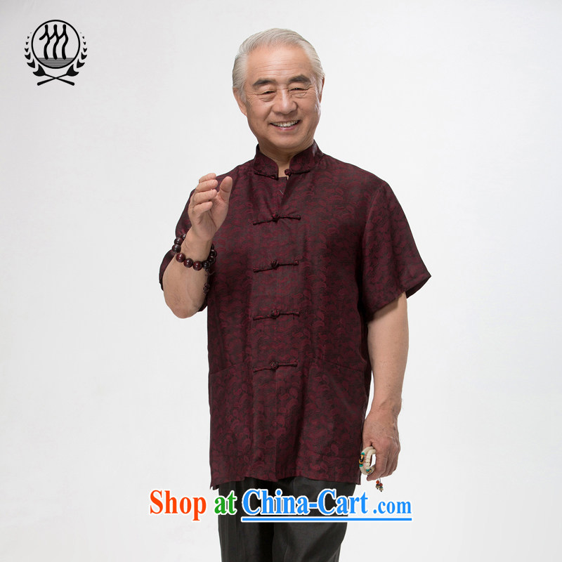 and mobile phone line short-sleeved short summer load new male fragrance cloud yarn and silk Tang replace short-sleeved shirt T-shirt, older men, Tang with the Shannon cloud yarn燲XXL_190