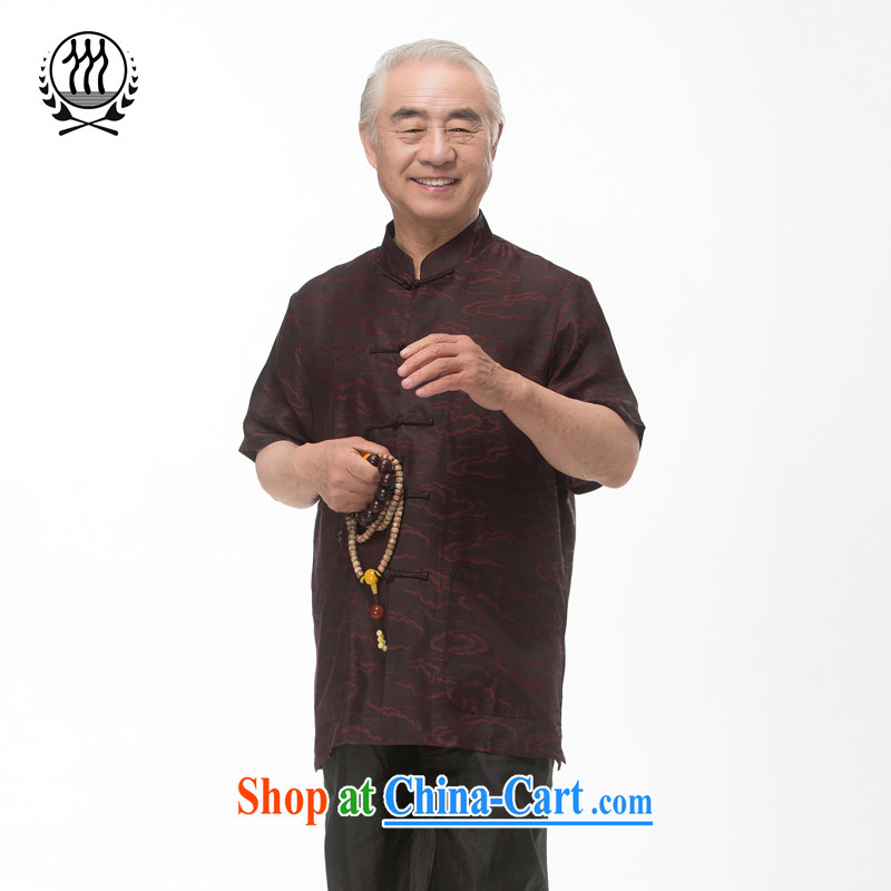 and mobile phone line short-sleeved short summer load new male fragrance cloud yarn and silk Tang replace short-sleeved shirt T-shirt, older men, Tang with the Shannon cloud yarn brown XXXL_190