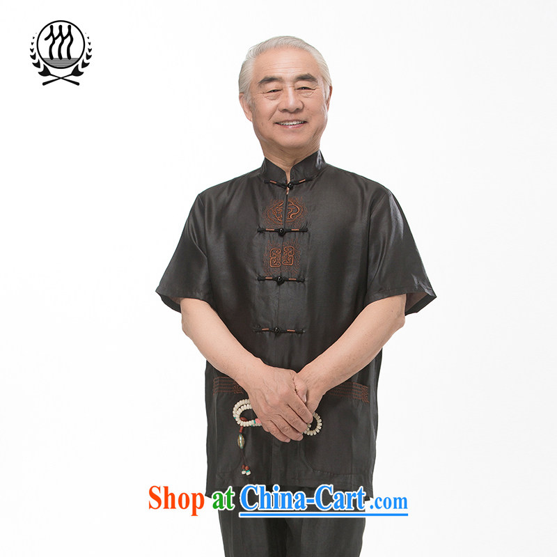 and mobile phone line short-sleeved short summer load new products men's fragrance cloud yarn and silk Tang with a short-sleeved shirt T-shirt, older men Tang replace Hong Kong cloud yarn 0798 XXL_185