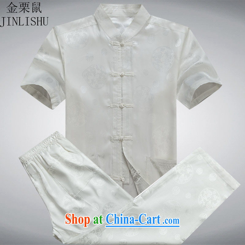 The poppy the Mouse men Tang package installed, older men and summer short sleeve fitted dress China wind father replace white package XXXL, the chestnut mouse (JINLISHU), shopping on the Internet