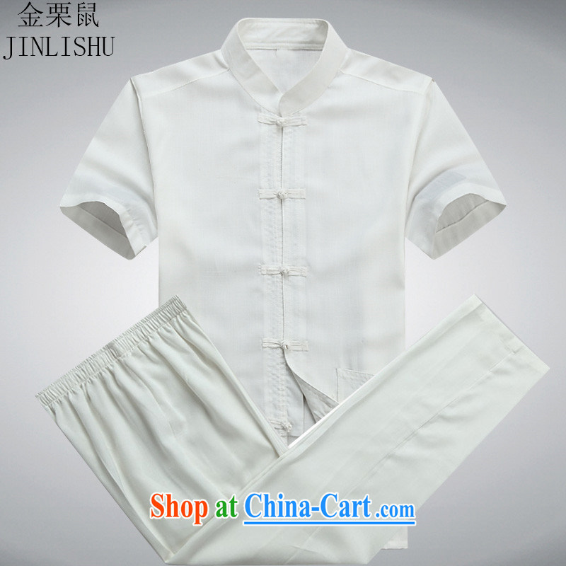 The poppy the mouse in the summer older male Chinese short-sleeved T-shirt men's Chinese national costume Chinese Package white package XXXL