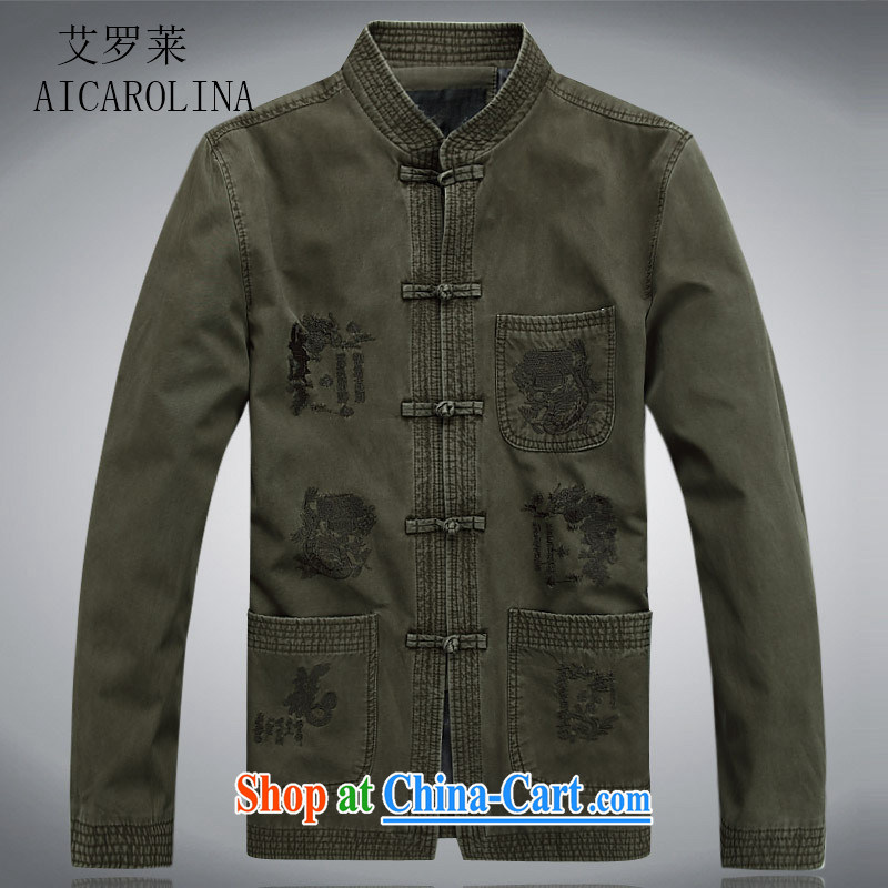 The Adelaide Man Tang with solid T-shirt Chinese style long-sleeved T-shirt-tie retro Chinese men's shirts dark green XXXL