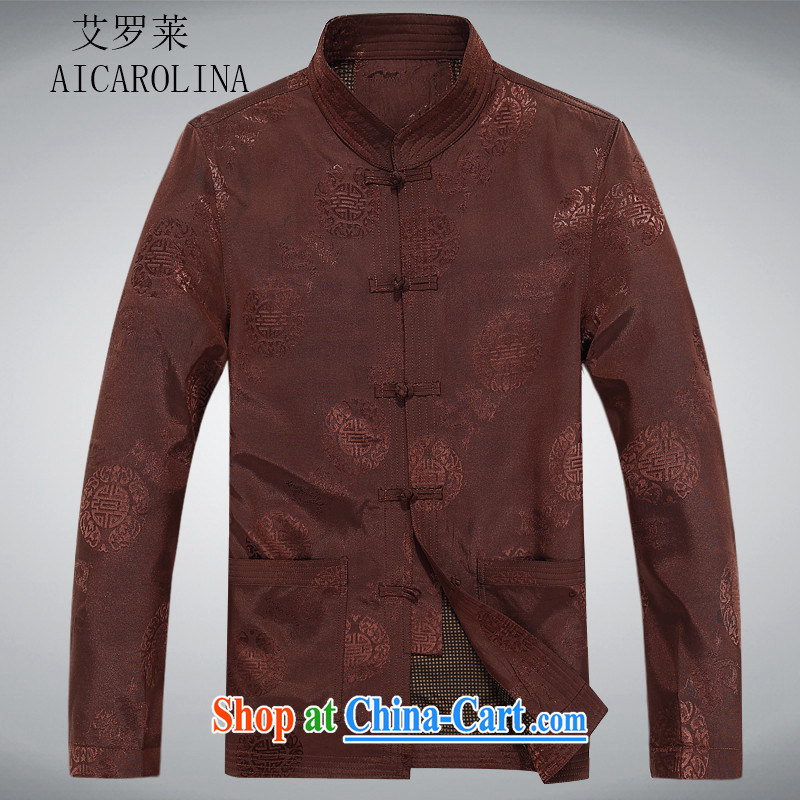 The Carolina boys older persons in Chinese men's long-sleeved T-shirt men's clothing, men's Chinese jacket coat elderly clothing and color XXL
