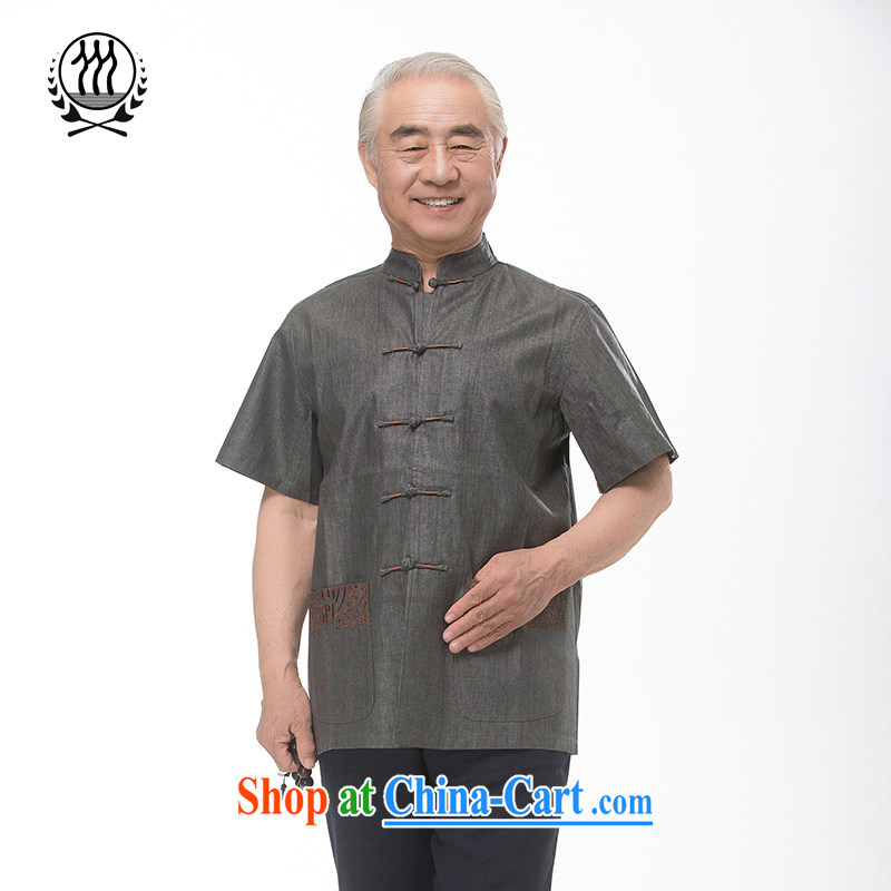 Summer is for men's cotton mA short-sleeved Chinese T-shirt upscale Ethnic Wind men, cotton for the short-sleeved relaxed comfortable cotton the father with multi-color optional gray XXXL_190