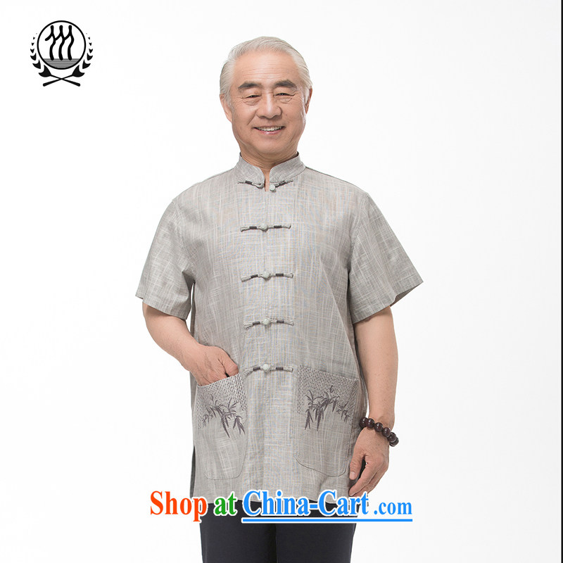 and mobile phone line short-sleeved short summer with new products and natural linen and linen Tang replace short sleeved T-shirt T-shirt, older men, Tang replace national clothing boutiques, light gray L/175