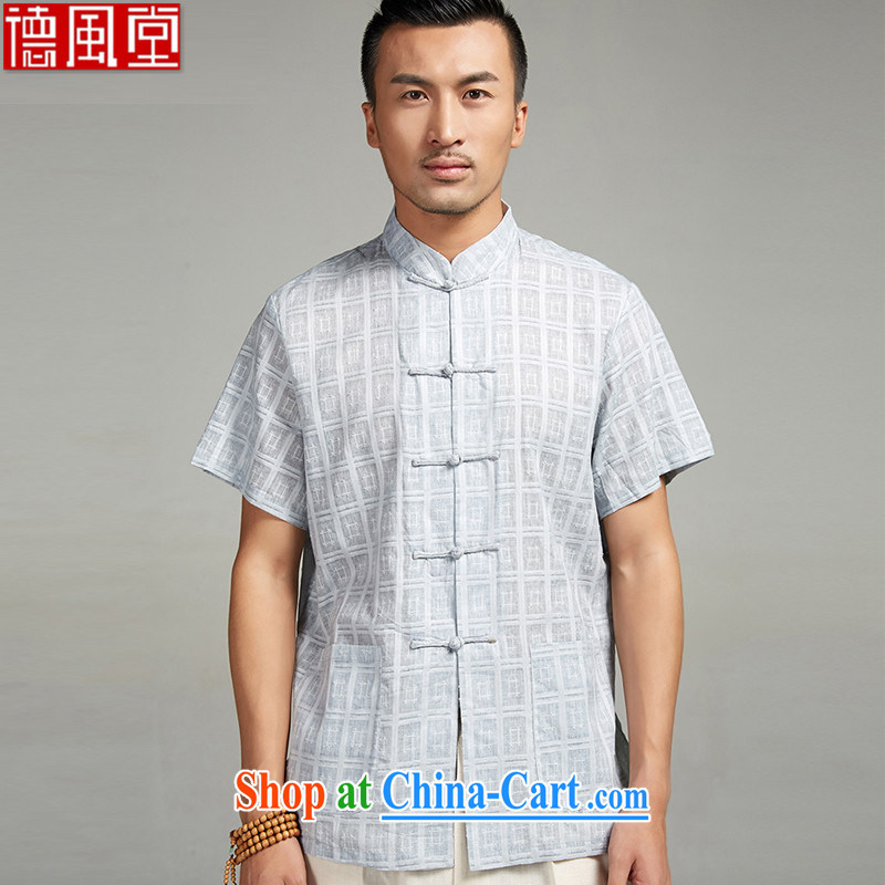 De wind church willing dumping 2015 new summer cotton Ma short-sleeved men's Chinese hand-tie and collar shirt thin Chinese clothing blue 4 XL