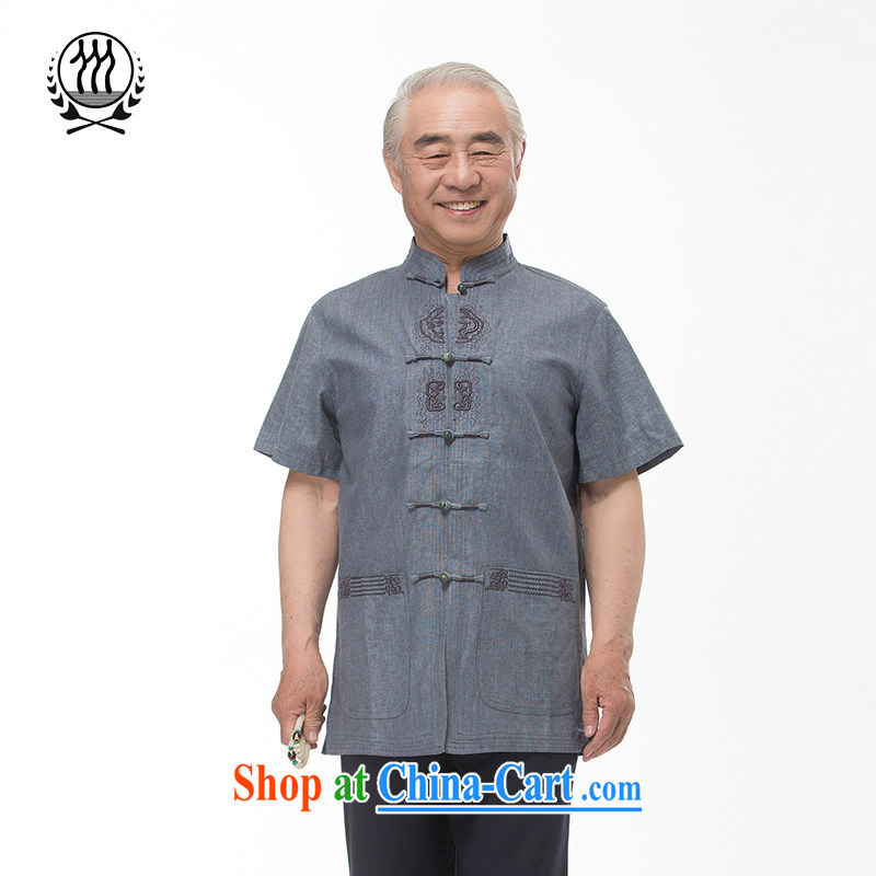 and mobile phone line 15 new summer Chinese, for Chinese men and elderly in summer for the Chinese short-sleeved dress boutique beige light gray optional blue gray XXL_185