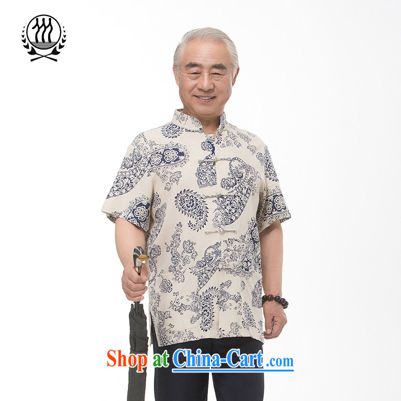 and mobile phone line 15 new summer cotton the Chinese, short-sleeved Chinese elderly in summer with short short-sleeved dress boutique stamp short sleeve multi-color optional blue XXXL/190
