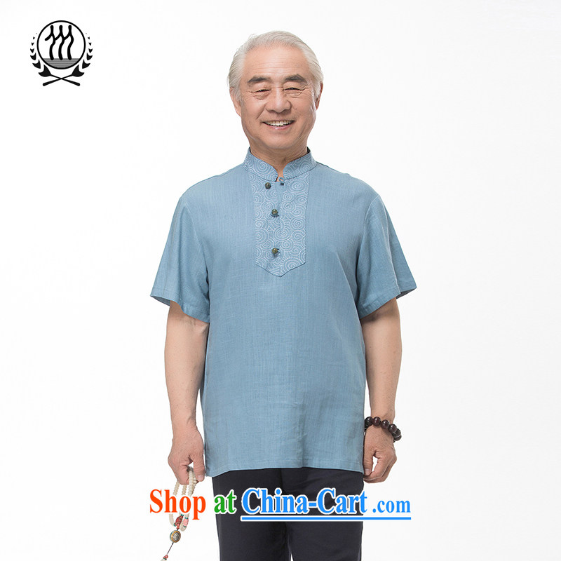 and mobile phone line 15 new summer Chinese cotton the embroidery short sleeve men's older summer and set up for short term load short-sleeve dress boutique multi-color optional light blue XXXL/190