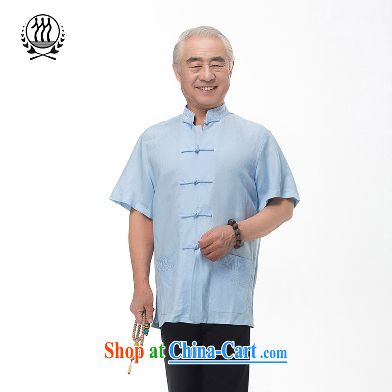 and mobile phone line new summer Chinese, for embroidery cotton the Chinese short-sleeve middle-aged and older summer manual tray snaps cotton Ma short-sleeved T-shirt ethnic wind clothing boutiques, light blue M/170