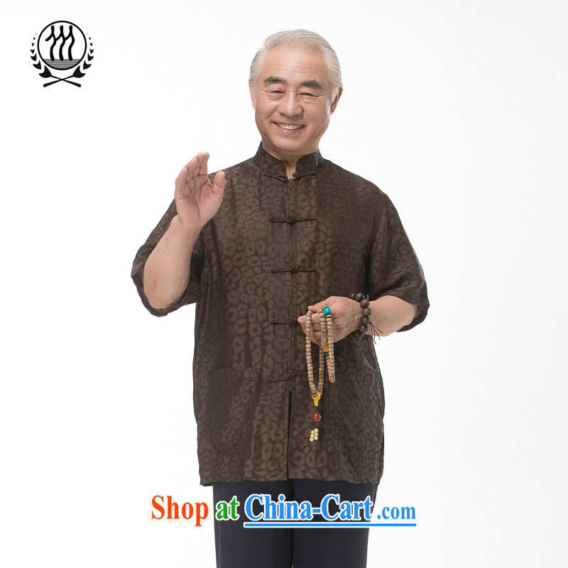 and mobile phone line short-sleeved short summer load new products men's fragrance cloud yarn and silk Tang with a short-sleeved shirt T-shirt middle-aged and older men, Chinese men and fragrant cloud yarn brown M/170