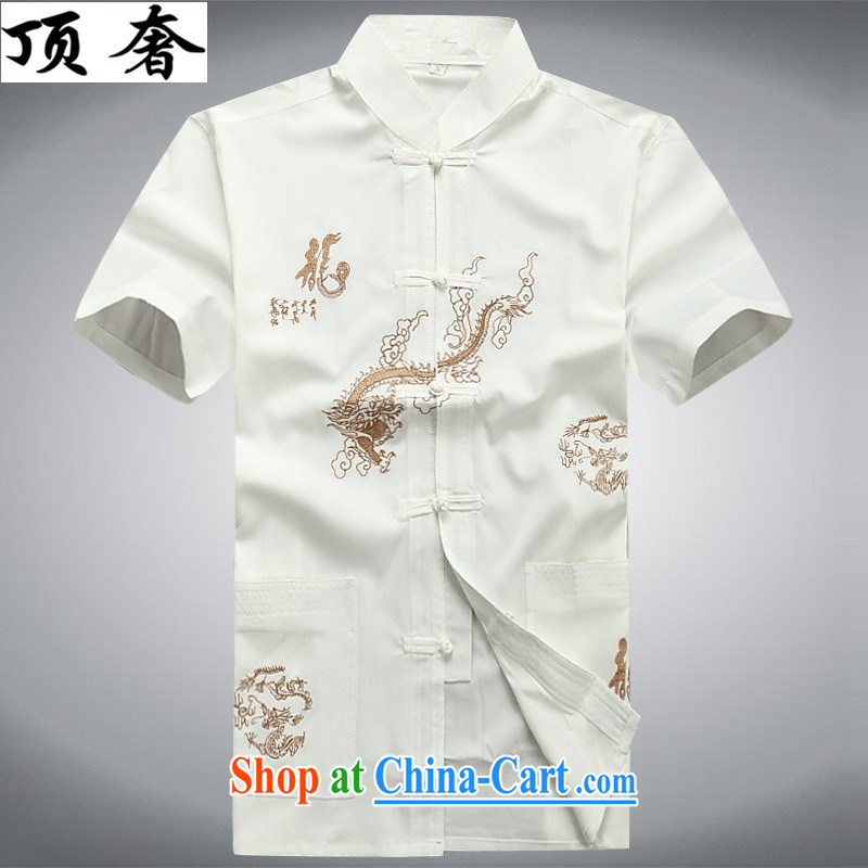 Top luxury Chinese men's long-sleeved thin men's jackets 2015 new hands-free hot half sleeve T-shirt white long-sleeved Tang is a leading male Chinese men and a short-sleeved white short-sleeved S_165