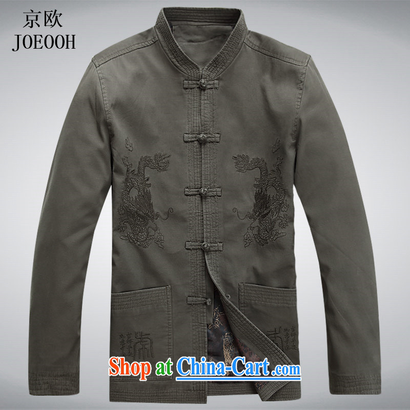 Putin's European men's long-sleeved Chinese men and Chinese T-shirt sand wash Cotton Men's spring jacket male Chinese jacket gray-green XXXL