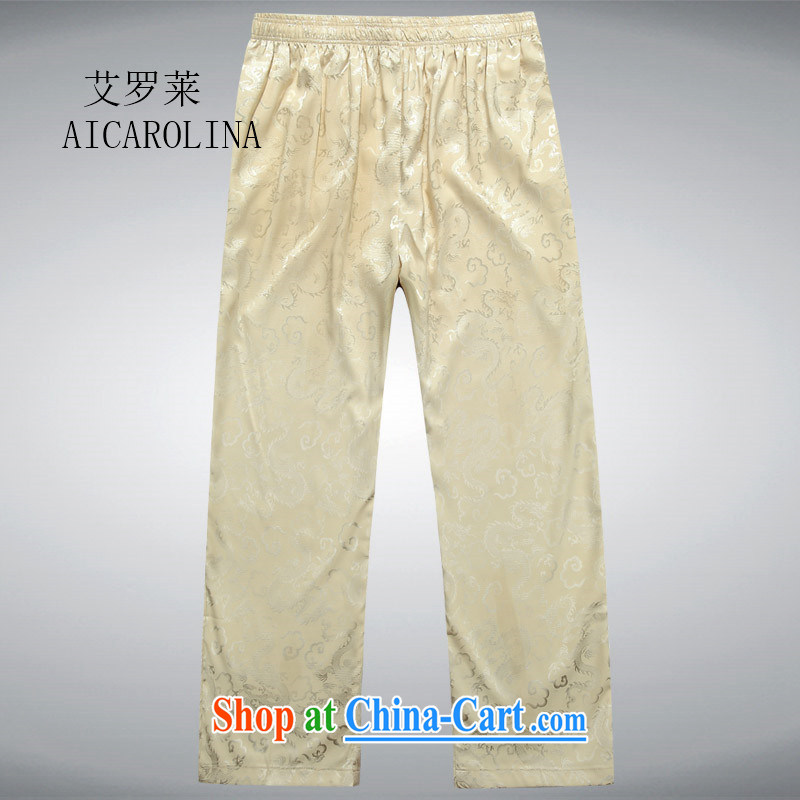 The in long trousers men's short pants in the older Tang pants summer wear national dress beige XXL