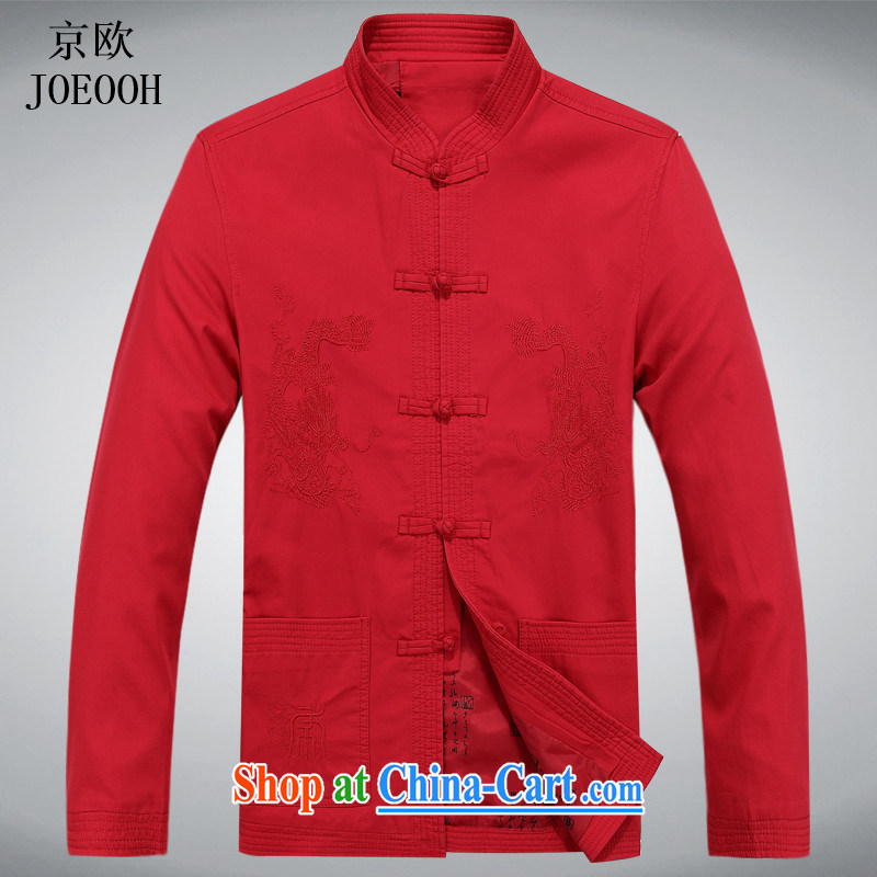 Putin's Euro 2015 Spring and Autumn and new, older men and red long-sleeved sand wash cotton Chinese Chinese-buckle up for national costumes red XXXL