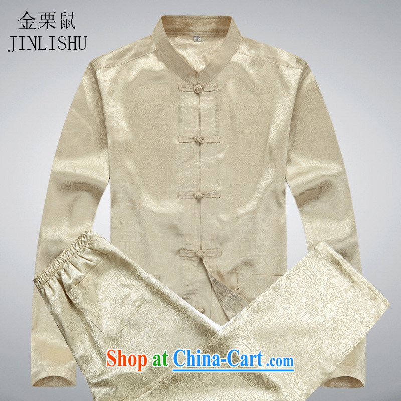 The chestnut mouse new, older men's long-sleeved Tang replacing kit spring and summer with his father the men China wind Han-beige Kit XXXL