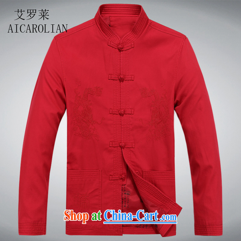 The Carolina boys older persons in Chinese men's long-sleeved T-shirt men's clothing, men's Chinese jacket coat elderly clothing red XXXL