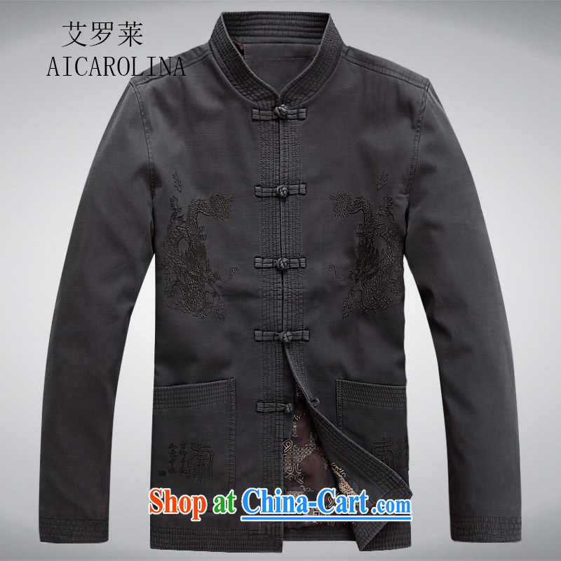 The Carolina boys National wind men's Chinese-tie China wind Chinese men's long-sleeved jacket spring Han-cynosure of serving dark gray XXXL