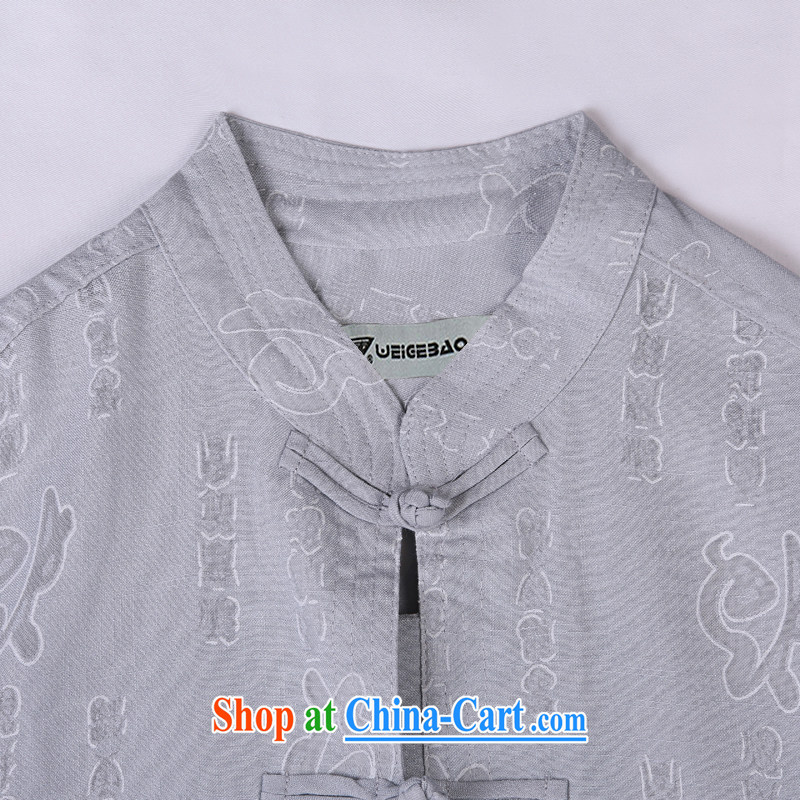 Vigers Po 2015 summer New T shirts China wind linen cool breathable sweat-wicking short-sleeved Chinese men's T-shirt, old Tang 3 gray XXXL, federal core Chai, who, on-line shopping