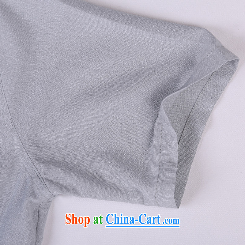Vigers Po 2015 summer New T shirts China wind linen cool breathable sweat-wicking short-sleeved Chinese men's T-shirt, old Tang 5 gray XXXL, federal core Chai, who, on-line shopping