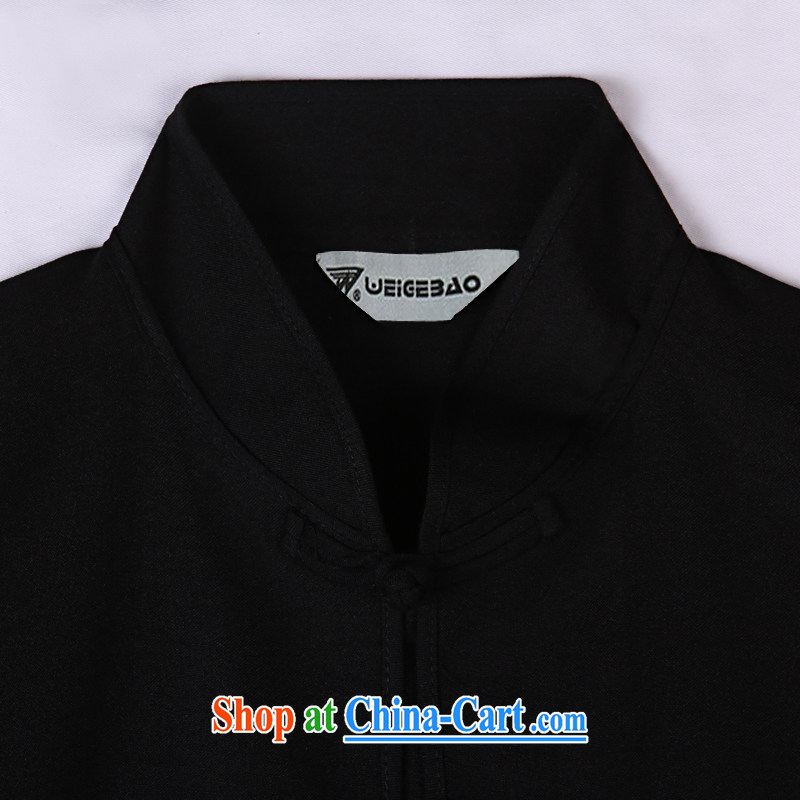 Vigers Po 2015 summer New T shirts China wind linen cool breathable sweat-wicking short-sleeved Chinese men's T-shirt, old Tang 7 black XXXL, federal core Chai, who, on-line shopping