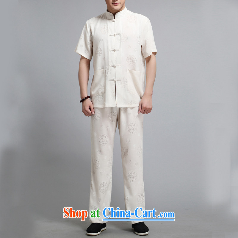 The Carolina boys, older men's summer short-sleeved Chinese nation with China wind father is Chinese, for Leisure package m White 4XL