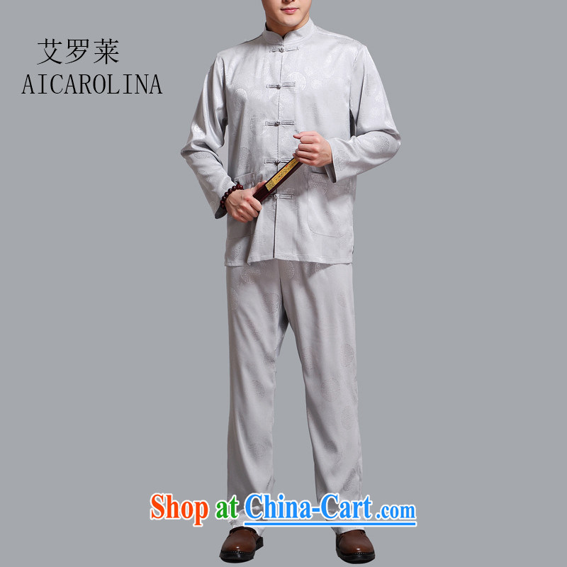 The Spring and Autumn Period, the middle-aged and older Chinese men's T-shirt long-sleeved Kit Chinese cynosure leisure middle-aged men and light gray 4 XL