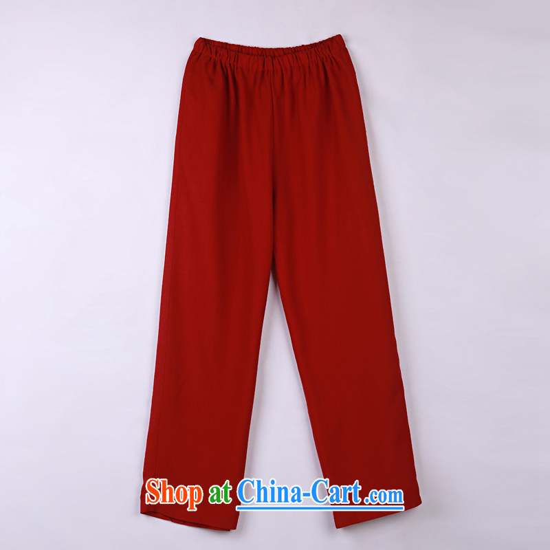 2015 spring and summer with new products, the BMW China wind Chinese pants older Tang pants 15 dark red XXXXL